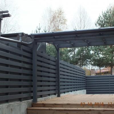 Pušinė terasa su stogu